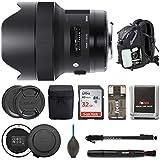 Sigma 14mm f/1.8 DG HSM Art Lens for CANON EF w USB Dock & 32GB SD Card Premium Photo & Travel Bundl
