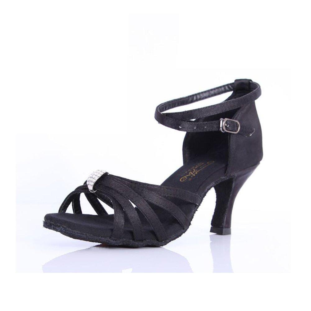 XUE Damen Latin Schuhe funkelnde Glitter Sandale Ballroom Schuhe/Fersen Performance/Professional Strass/Sekt Glitter Flared Heel (Farbe : B, Grouml;szlig;e : 40)  40|B