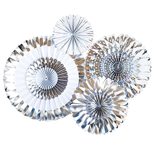 My Mind's Eye - Fancy Chrome Silver Paper Party Fans - 4 Count - -
