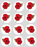 12 Poppy rice paper fairy / cupcake 40mm cake toppers pre cut decoration