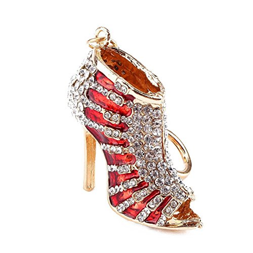 BAOBAO Bling Crystal Rhinestone Shoes High Heel Keychain Car Bag Purse Keyring(Red) from BAOBAO