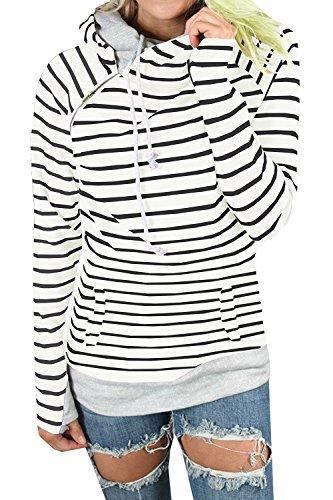 Caat Aycox Women's Hoodie-Tops-Striped Cowl Neck Drawstring Hooded Pullover Sweatshirt with Pockets (Striped Sweatshirt)