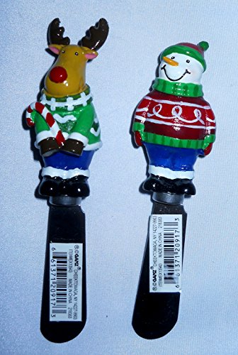 Snowman Spreader Set (Set of 2 Christmas Butter Spreaders Butter Serving Knifes By Ganz Snowman, Santa, Reindeer)