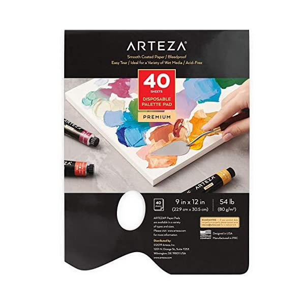 Arteza-Disposable-Palette-Paper-Pad-9×12-Inch-40-White-Sheets-54-lb-Glue-Bound-Bleed-Proof-Paint-Palette-with-Thumb-Hole-for-Oil-Paint-Acrylics-Watercolors-Gouache