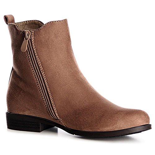 Châtain Femmes Topschuhe24 Clair Boots Bottines Chelsea Pa464qZWI