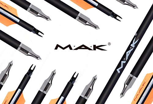 MAK-Hunting-Arrows-30-Inch-0309-inch-Outer-Diameter-Carbon-Outdoor-Archery-Practice-Target-Arrows-with-Replaceable-Hunting-Broadhead-for-Compound-Recuve-BowPack-of-12