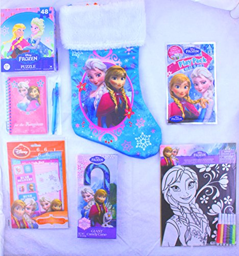 Disney Frozen Stocking and Stuffers Bundle of 7 Items: Play Pack, Puzzle, Stickers, Journal, Wish List and Candy (Sexy Disney Villains)