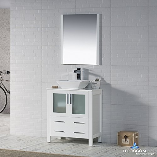 BLOSSOM 001-30-01-1616V Sydney 30'' Vanity Set with Vessel Sink and Mirror Glossy White