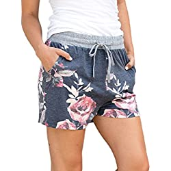 DUOLIFU Women Floral Printed Activewear Lounge Shorts with Pocket,Grey,XXL