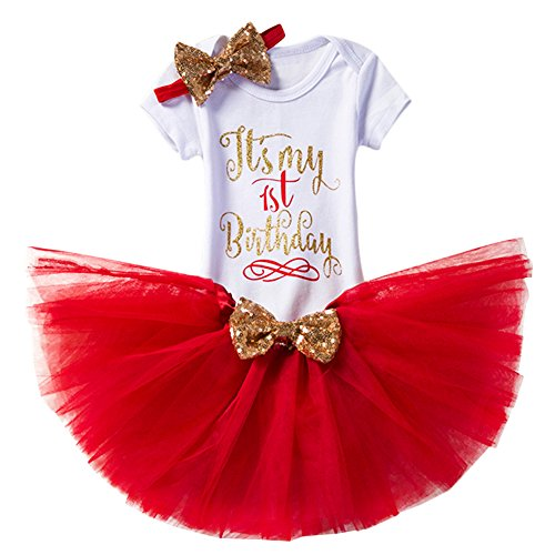 (FYMNSI Newborn Baby Toddler Girls It's My 1st / 2nd Birthday Cake Smash Romper + Tutu Skirt with Bowknot + Headband 3 Pcs)