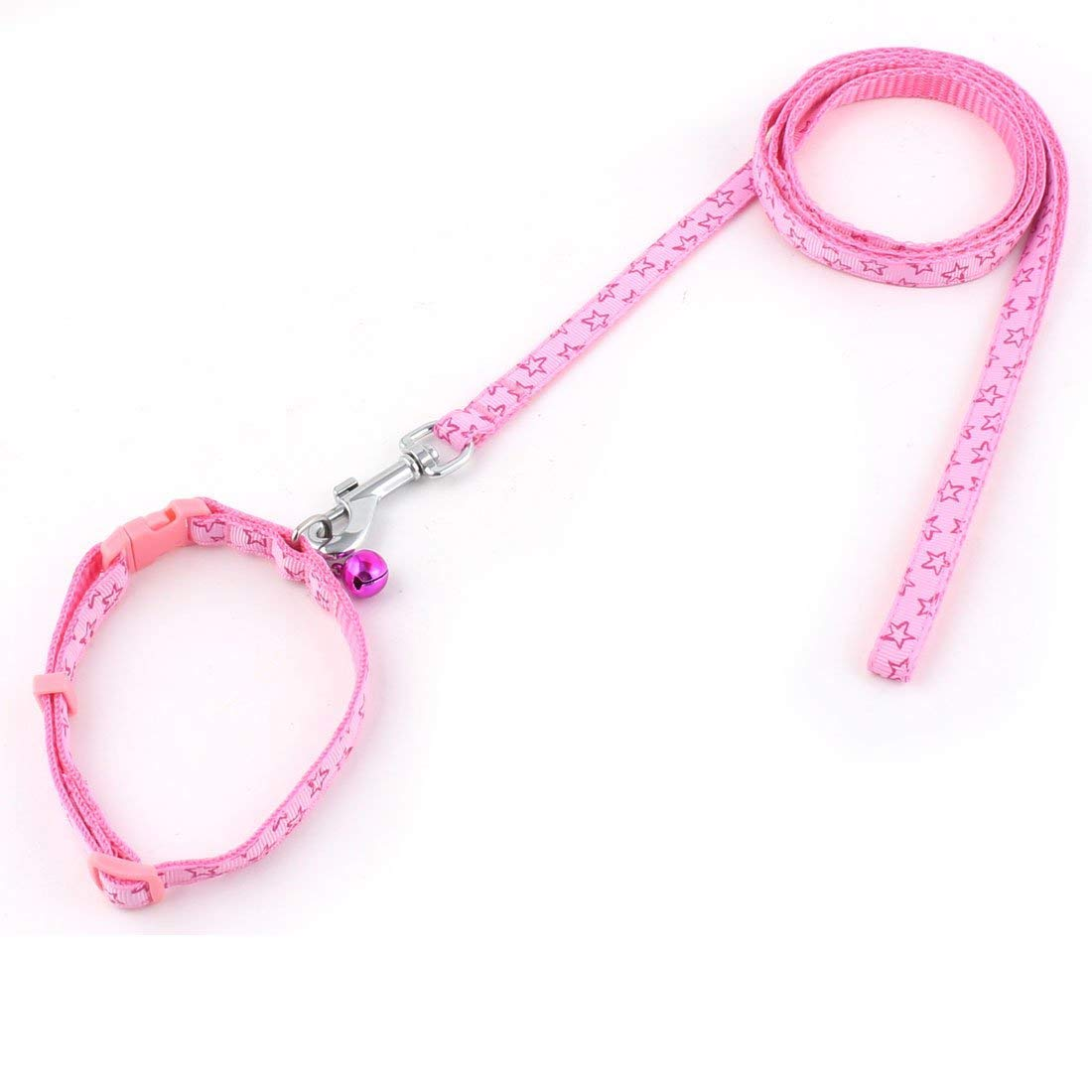 1Pc Pink   Puppy Dog Pet Bell Decor Star Pattern Collar Walking Training Lead Rope Leash