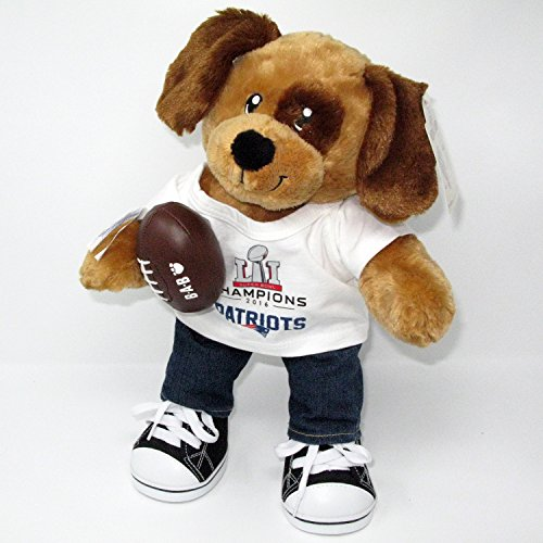 New England Patriots 2016 Championship Puppy Dog in Jeans Sneakers and Football Accessory Set (Patriots Teddy Bear)