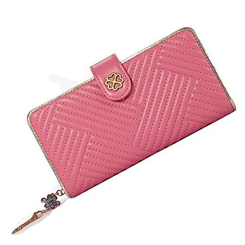 Women Wallet Thread Genuine Coin Purse Card Holder Soft Sheepskin Wallet Pink (Sheepskin Wallet Womens)
