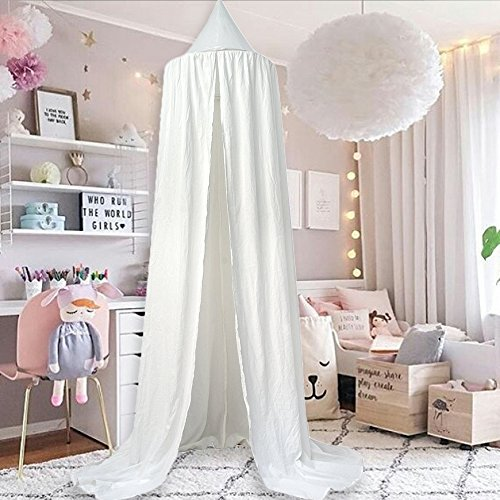 M&M Mymoon Girls Bed Canopy Reading Nook Tent Dome Mosquito Net Hanging Decoration Indoor Game House for Baby Kids (Canopy Cotton Crib)