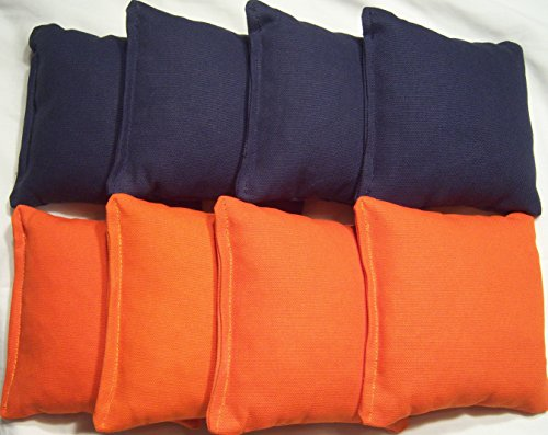 Cornhole Bags - 8 ACA Regulation Bags (2 Sets of 4) Navy Blue / Orange