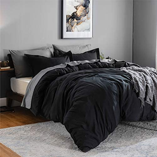 Bedsure Black Duvet Cover Queen Size Set Zipper Closure Ultra Soft Microfiber Comforter Cover Bedding Sets (1 Duvet Cover + 2 Pillow Shams) Full/Queen 90x90 inches, Black