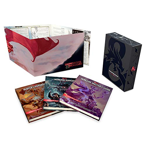Dungeons & Dragons Core Rulebooks Gift Set (Special Foil Covers Edition with Slipcase, Player's Handbook, Dungeon Master's Guide, Monster Manual, DM Screen) ()