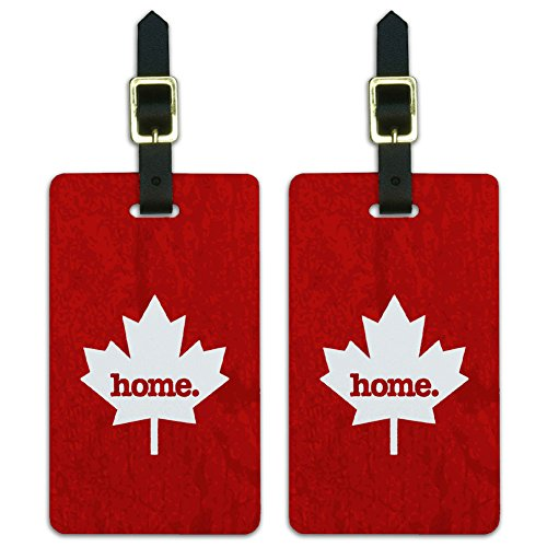 (Graphics & More Canada Maple Leaf Home Country Luggage Suitcase Id Tags-Textured Red,)