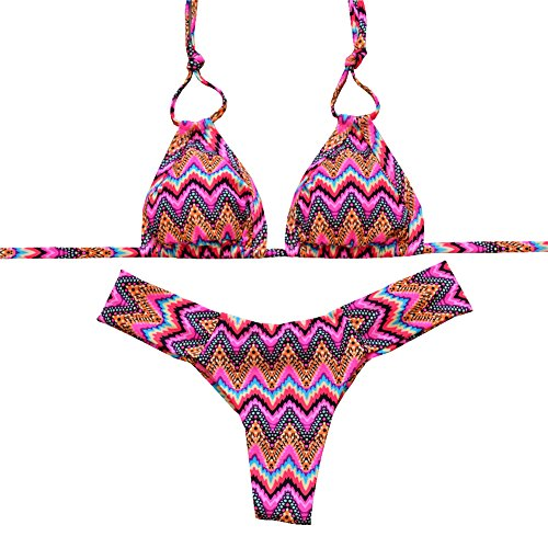 Brazilian Bikini (Sherry007 Women's 2 Piece Halter Strap Brazilian Cut Bikini Set Swimsuits (M, Rose))