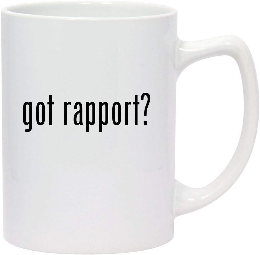 got rapport? - 14oz White Ceramic Statesman Coffee Mug