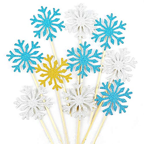 HansGo Snowflake Cupcake, 40PCS Christmas Cupcake Toppers Frozen Snowflake Cake Toppers Picks Glitter Winter Decorations