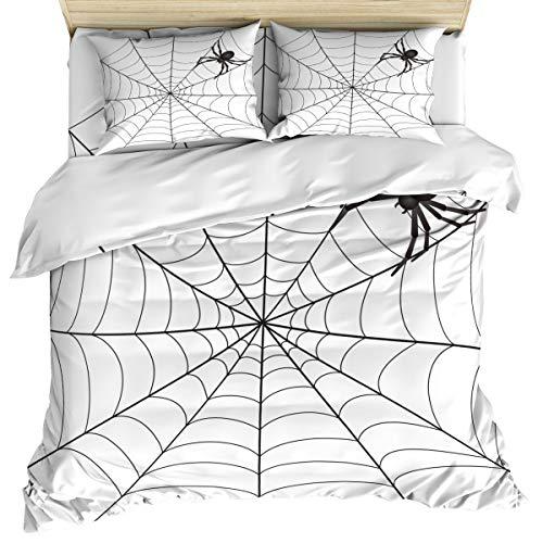 ZOE STORE Bedding Set Includes 1 Bed Sheet 1 Duvet Cover 2 Pillow Cases King Size Spider Web Clip Art 4 Pcs Duvet Cover Set Quilt Cover Suitable for Adults]()