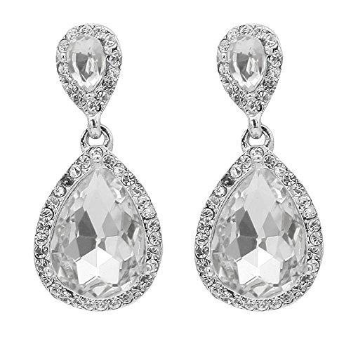 TTjewelry Bride Wedding Austrian Crystal Clear Teardrop Dangle Earrings Silver Tone