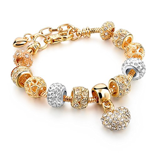 Selling Heart Charm & Bangles Gold Bracelets For Women Diy Pulsera Famous Brand Jewellery Sbr150074 Antique Gold Plated