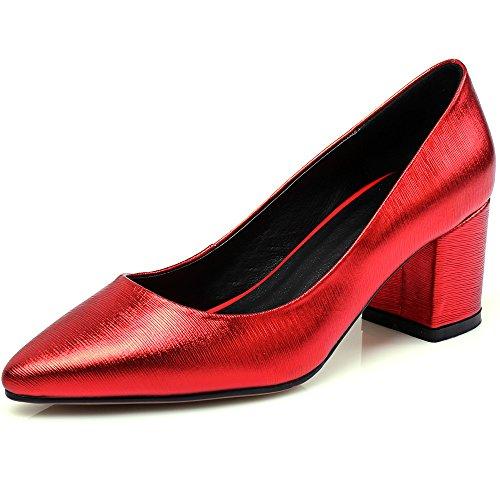 Nine Seven Cuero Puntiagudos Tacones de Vestir de Tacón Grueso para Mujer Rojo