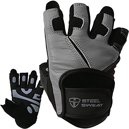 Steel Sweat Workout Gloves - Best for Weightlifting Gym Fitness Training and Crossfit - Made for Men and Women who Love Lifting Weights and Exercise - Leather SCARR Gray XXL