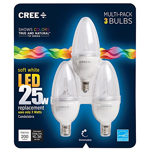 Cree BB13-02027OMC-12DE12-1C600 TW Series 25W Equivalent Candelabra Decorative Dimmable LED Light Bulb (3-Pack), Soft White