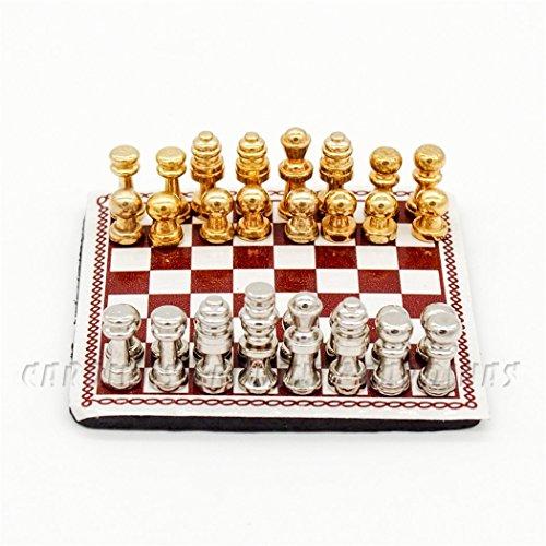 Odoria 1:12 Miniature Metal Chess Set 32 Chesses And
