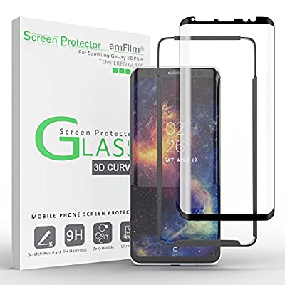 Galaxy S8 Plus Glass Screen Protector, amFilm Full Screen [Case Friendly][Easy Installation Tray] Dot Matrix 3D Curved Tempered Glass Screen Protector for Samsung Galaxy S8 Plus (Black)