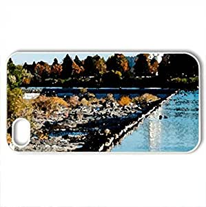beautiful temple by the river - Case Cover for iPhone 4 and 4s (Rivers Series, Watercolor style, White)
