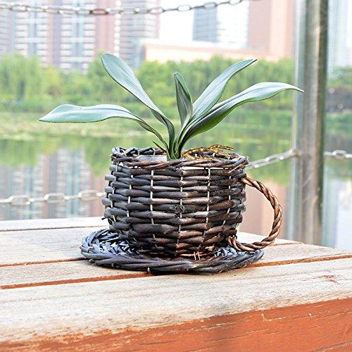Plant Pot Flower Basket Willowerwork Waterproof Flowerpot By Lingstar European Craft Cup Straw Decorative Plant Pot Flower Basket (Wicker Pot)