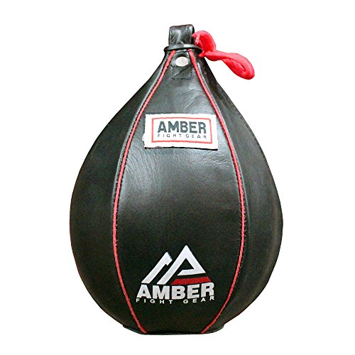 (Amber Fight Gear Genuine Leather Speed Bag Heavy Duty Leather Hanging Punch Ball for MMA Muay Thai Training Punching Dodge Striking Bag Reflex Boxing Ball Size Small 6x9