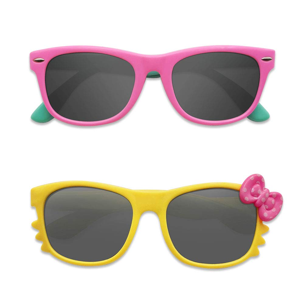 Pack of 2 Girl or Boy Styles MotoEye Kids Polarized Sunglasses for Children Age 4-12 Years Old