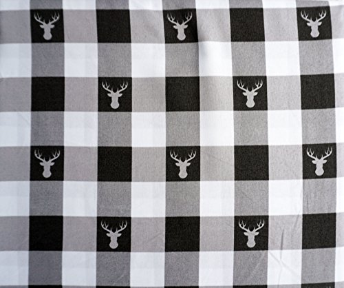 Well Dressed Home Bedding 4 Piece King Size Bed Sheet Set Black Gray White Stripes Checked Plaid Pattern with Deer Heads (Well Dressed Kid)