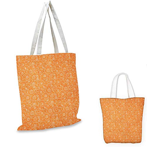 Harvest non woven shopping bag Pattern with Pumpkin Leaves and Swirls on Orange Backdrop Halloween Inspired fruit shopping bag Orange White. 14