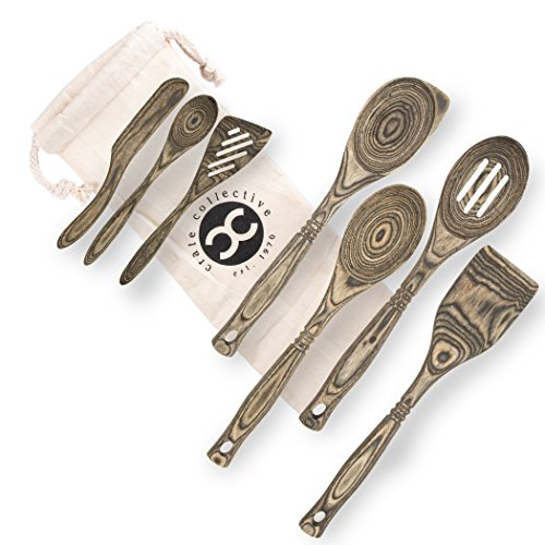 (Exotic Pakkawood 7-Piece Kitchen Utensil Set with Spoon, Slotted Spoon, Spatula, Corner Spoon, Small Spoon, Small Spatula/Turner, Spreader - Earth Friendly Material - by Crate Collective (Beechnut))