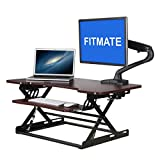 Fitmate 34'' Preassembled Height Adjustable Work Standing Desk Converter Fits Two Monitors with Retractable Keyboard Tray, Sit / Stand up Desk Elevating Desktop (Cherry)