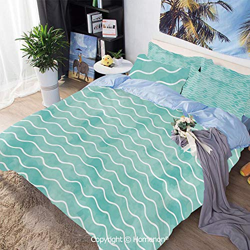 Dinette Set Pastel - 3 Piece Set Microfiber Fabric,Soft Pastel Colored Ocean Sea Waves Pattern Summer Vibes Inspired Graphic,King Size,Include 1 Quilt Cover+2 Pillow case,Turquoise White
