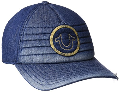 (True Religion Men's Precurved Moto Denim Cap, Indigo, One Size)
