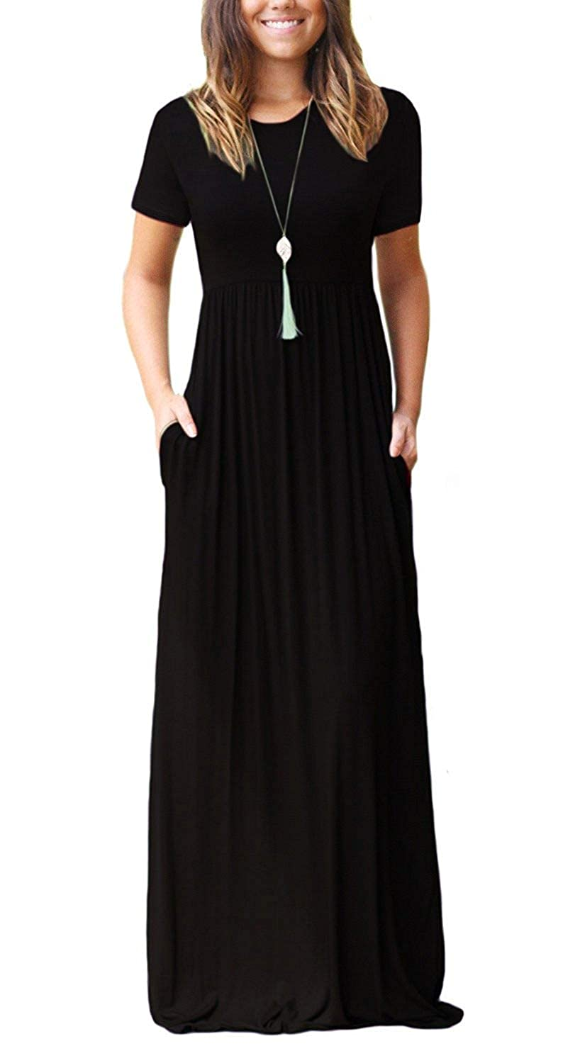 f2bfe53f03 DEARCASE Women Short Sleeve Loose Plain Maxi Dresses Casual Long Dresses  with Pockets at Amazon Women's Clothing store: