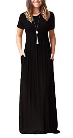 8b77f220cd67 Women's Short Sleeve Round Neck Maxi Casual Long Dresses Black Small