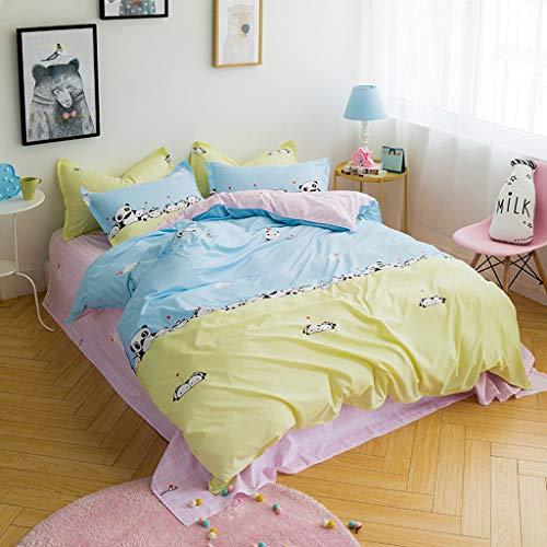 (NEARTIMEGirls Boys Duvet Cover Set Twin 4 Pieces Bedding Set (1 Duvet Cover+2 Pillow Shams+1 Coverlet) Polyester Cute Hypoallergenic with Zipper)