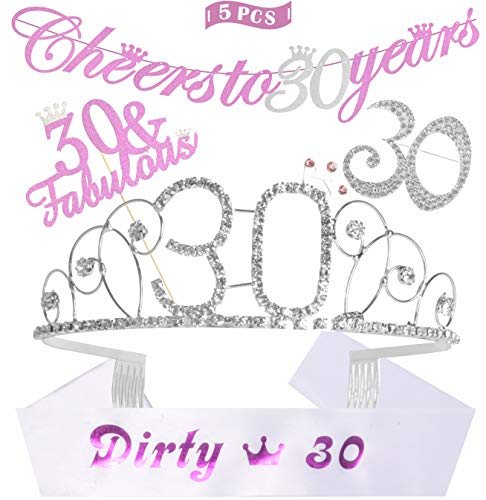 30th Birthday Decorations Party Supplies, Silver 30th Birthday Tiara, 30th White Satin Sash Dirty 30, Silver Glittery Cheers to 30 Years Banner, 30 and Fabulous Cake Topper | 30 Silver Rhinestone Brooch,30th Birthday Party Gifts for Women