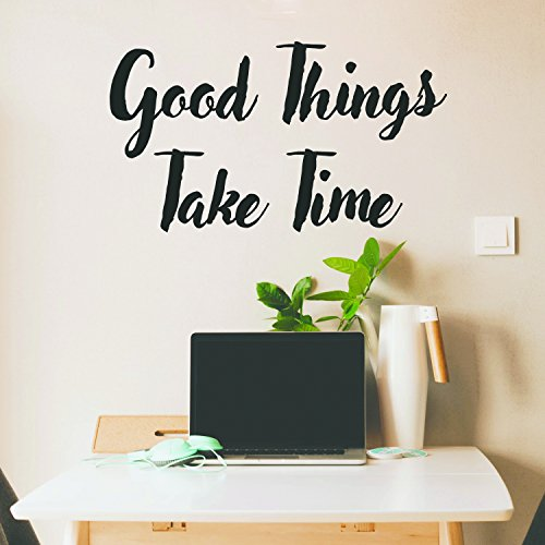 Motivational Positive Quote Wall Art Vinyl Decal - Good Things Take Time - 17'' x 30'' Inspirational Wall Art Decor - Business Office Positive Quote Sticker Decals by Pulse Vinyl