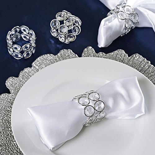 Tableclothsfactory 4PCS Bling Glass Crystal Gem Napkin Rings - Silver
