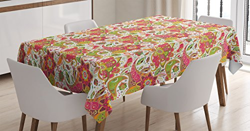 Ambesonne Batik Decor Tablecloth, Ethnic Paisley Motifs with Spring Blossoms and Fresh Exotic Fantasy Artwork, Dining Room Kitchen Rectangular Table Cover, 52W X 70L inches, Green Pink